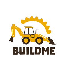 Logo backhoe loader orange construction equipment vector