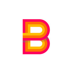 Logo letter b red glowing vector