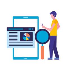 man using mobile analysis seo business vector image