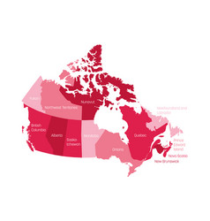 Map canada divided into 10 provinces and 3 vector