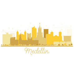 medellin colombia city skyline golden silhouette vector image
