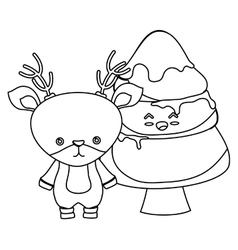 merry christmas tree kawaii style vector image
