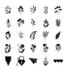minimalist tattoo botanical flowers leaves stuff vector image