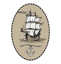 Old sailing ship vector image vector image