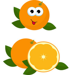 orange whole and slice of orange with orange vector image