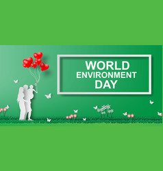 paper art of the world environment day 5 june vector image