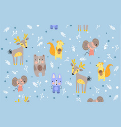 Pattern forest animals on cool blue background vector
