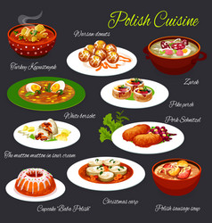 Polish cuisine food poland restaurant menu dishes vector
