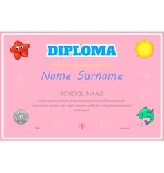 Preschool Kids Diploma certificate background vector image
