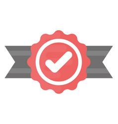 Quality check ribbon badge vector