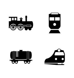 Rail transport simple related icons vector