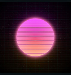 Retrowave style striped sun with pink and soft vector
