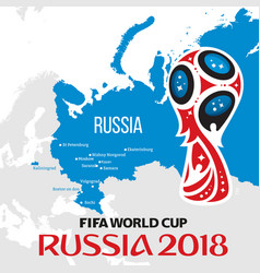 russia world cup 2018 with map and vector image