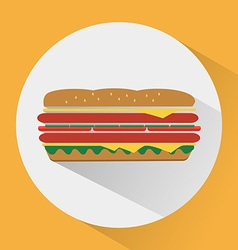 Sandwich colorful round icon vector image
