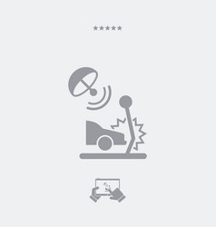 satellite protection for car crashes - web icon vector image