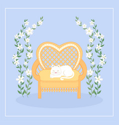 Satisfied cat on a sofa with flower vines vector