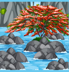 Scene with tree and river vector