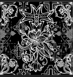 Seamless pattern with fantasy crosses 2 vector