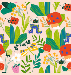 Seamless pattern with insects in summer plants vector