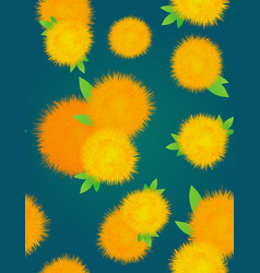 Seamless texture with yellow dandelions on a dark vector