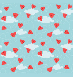 seamless valentine pattern heart paper airplanes vector image