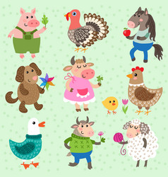 set cute farm animals vector image