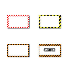 Set frames with slanted black and yellow strips vector
