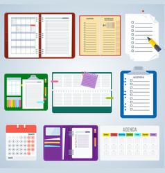 Set of agenda notebooks vector