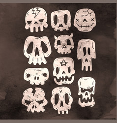 Set of cartoon halloween skull halloween stickers vector