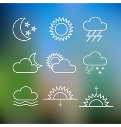 Set of weather flat style icons vector image