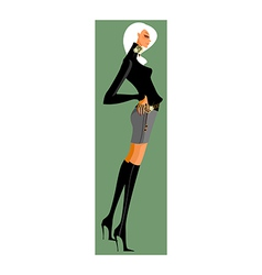 side view of woman vector image