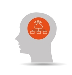 Silhouette head cloud computing icon graphic vector