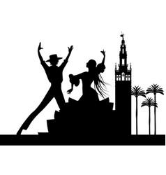Silhouette of spanish flamenco dancers couple vector
