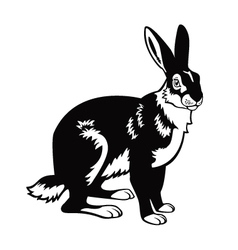 Sitting hare black and white image vector