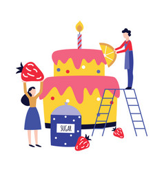 Small people cooking and decorating huge birthday vector