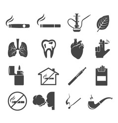 Smoking glyph icons set isolated on white vector