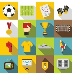 Soccer football icons set flat style vector