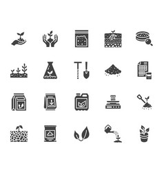 Soil testing flat glyph icons set agriculture vector