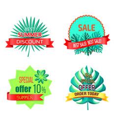 special summer offer promo tropical emblems set vector image