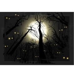 Spooky midnight grunge forest for halloween vector image