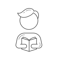 student reading a book line icon vector image