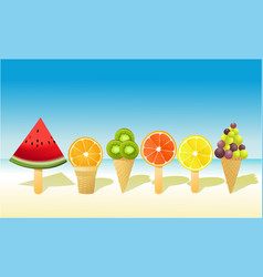 Summer fruit ice-creams vector
