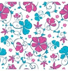 Swirly Vibrant Flowers Seamless Pattern vector image