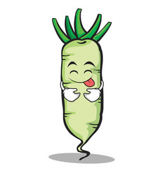Tongue out white radish cartoon character vector