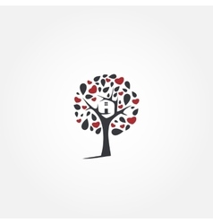 Tree logo design template Eco house vector image