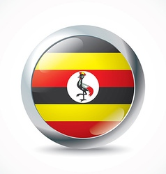 Uganda flag button vector image