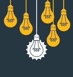 Unique idea - hanging light bulb think different vector