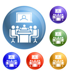 Video conference icons set vector