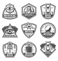 Vintage monochrome mystic labels set vector