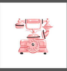 Vintage telephone rose gold color on white vector